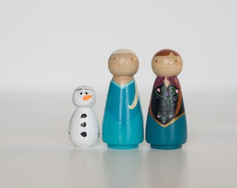 Hand painted small Frozen inspired peg people - set of 3 handpainted wooden peg dolls