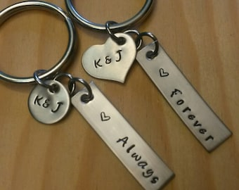 Hand Stamped Keychain Personalized Keychain Couples Keychain - Wedding Gift or Anniversary Gift