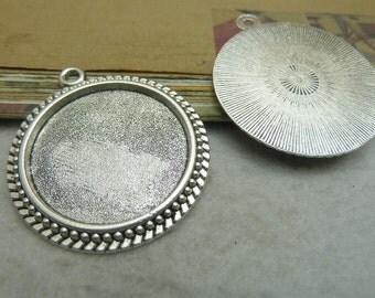 6pcs Antique silver 30mm base, antique bronze 30 mm bezel cups Jewelry findings wholesale bC3295/ bC6902