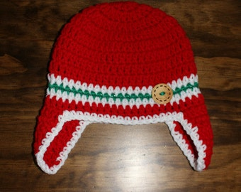 Baby Button Earflap Hat sz: 6-12m **Ready To Ship**