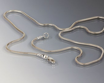 1.5 mm Sterling silver snake chain with exclusive handmade heavy duty cable ends & lobster clasp, Bracelet, 6 to 32 inches, Any length