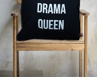Typography Cushion Cover, Word Cushion Cover, Black & White Pillowcase, Scandi Drama Queen Cushion Cover