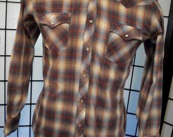 Stage II men's plaid long sleeve western shirt 15 1/2 - 34