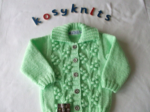 Knitting Patterns For Zingy : Hand knitted girls cardigan with collar in zingy lime