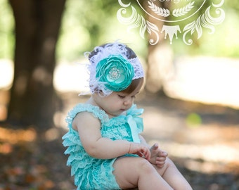 Aqua Lace Petti Romper Set ~ Smash Cake Outfit ~ Couture Headband Romper Set ~ Feathers and Lace