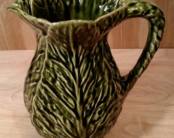 Collectible Olfaire Pottery from Portugal / Signed Olfaire Pitcher Cabbage Leaf /Rafael Bordallo Pinheiro Pottery Design/P.1048 Pottery/F657