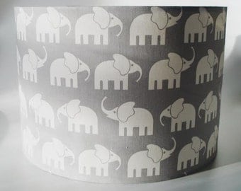 Elephant grey nursery lampshade in ceiling or bedside options