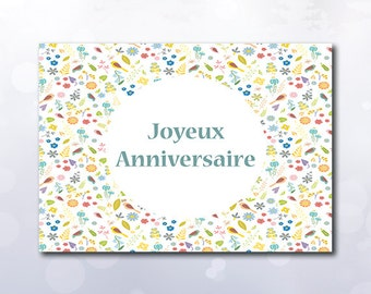Instant Download Printable Joyeux Anniversaire card bird yellow flower mint green peach image folded card PDF JPG french text Happy birthday