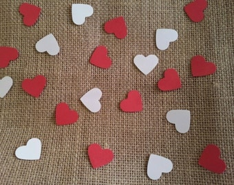 100 hand punched hearts confetti- 1 inch red and white