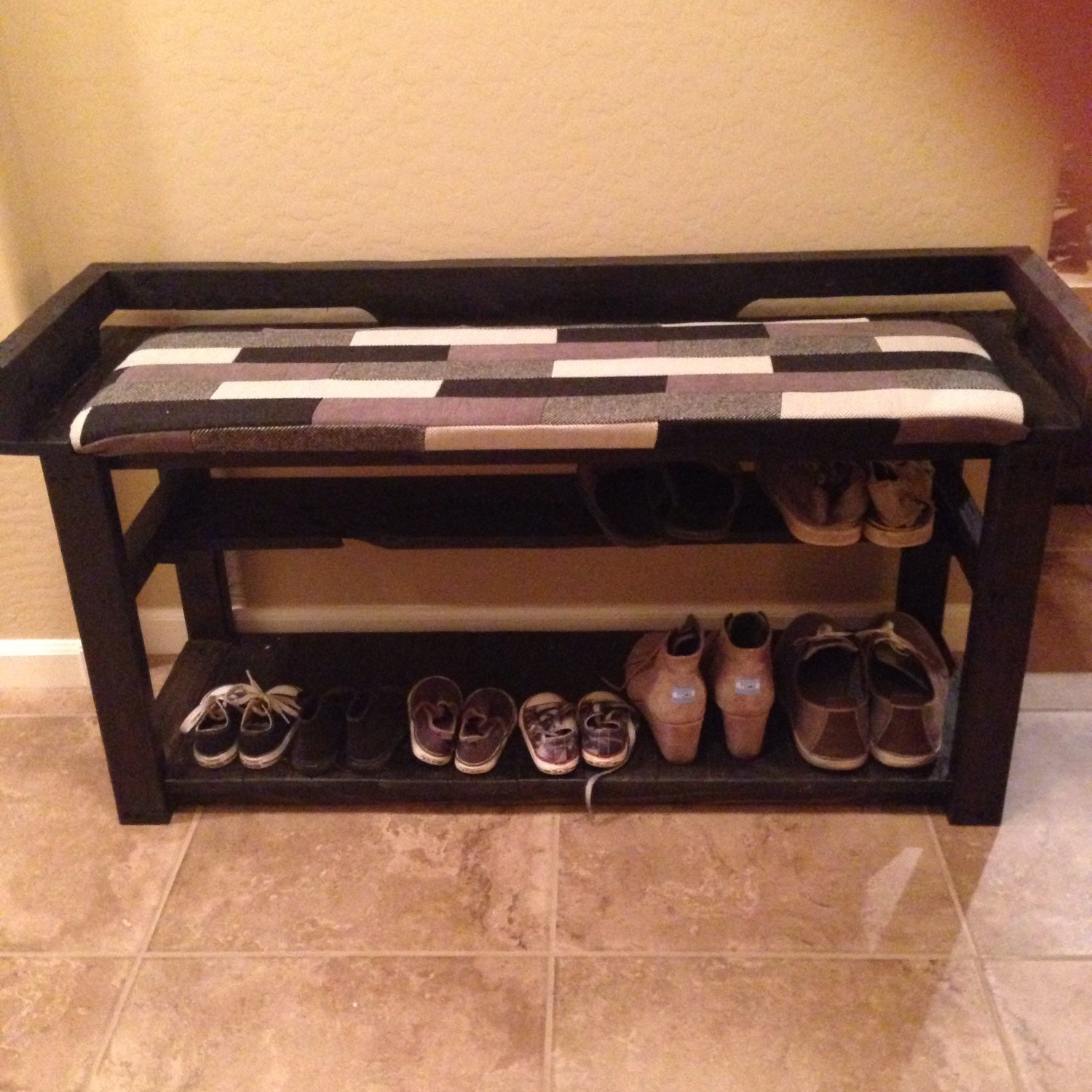 Reclaimed Wood Entry Bench Shoe Rack With By Branwooddesigns