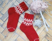 Handmade knitted socks Wool rustic socks  Hand knit red and white socks  Socks with winter ornament   cozy christmas gift
