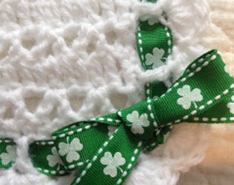 Irish Baby Blanket. White Crocheted Baby Afghan with Shamrocks Ribbon. St. Patrick's Day, Baby Shower, or Christening Gift. March 17th Baby