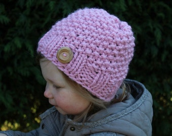INSTANT DOWNLOAD, Knitting Pattern, Knit Hat Pattern, Knit Hat, Hat Pattern, Girls Knit Hat, Girls Hat, Girls Hat Pattern, Knit (Pdf55)