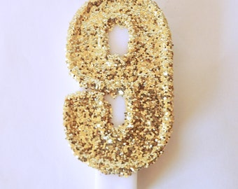 Large Gold Glitter Number 9 candle- Birthday Party Candles-Glitz and Glamour Party-Diva Party