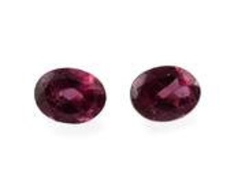 Rhodolite Garnet Oval Cut Set of 2 Loose Gemstones 1A Quality 4x3mm TGW 0.40 cts.