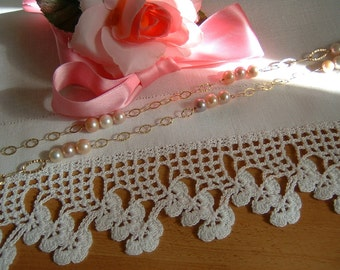 Lace crochet flowers border for finishing. White cotton lace. Crochet casa romantica. Shabby chic. To order.