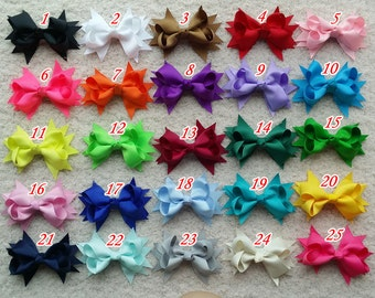 40 pcs 3.5 inch hair bow Small bow,infant bow,  Girl hair bow Toddler hair bows boutique bows Grosgrain ribbon hairbow,infant bow, A