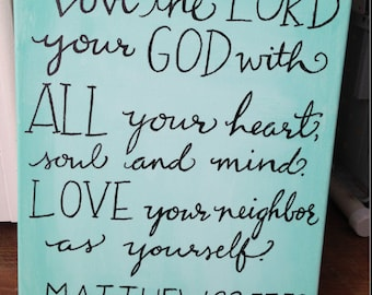 Love the Lord, canvas painting, bible verse acrylic original, Matthew 22