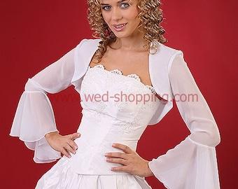 Chiffon bridal bolero jacket for wedding E1081 bolero - long wide sleeves wedding ivory jacket