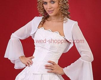 "Chiffon bridal bolero jacket for wedding E1081 bolero ""flamenco"" - long wide sleeves wedding ivory jacket"