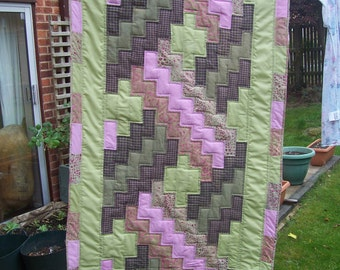 Patchwork quilt, bed runner size or narrow lap quilt.  Pink green and blue, batik, checks and solids, machine quilted, free shipping