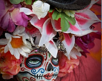 Beautiful Mortal Dia De Los Muertos Flower Girl canon PRINT 586 Reproduction by Michael brown