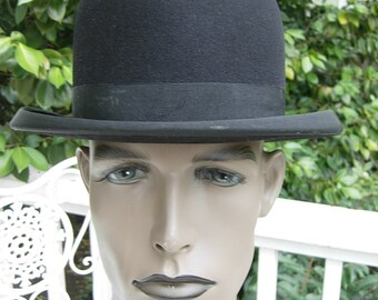 Virtually Unworn Fabulous Black Ultra High-End 1900s - 1910s-1920s Bowler / Derby Hat -- Size 6 7/8