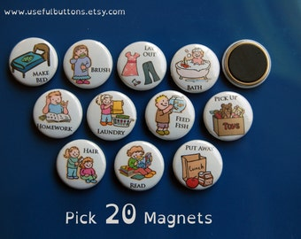 "1"" size - Pick 20 Small Chore Chart Magnets - Magnet Buttons 1"""