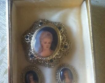Vintage 1950's Marie Antoinette brooch and earrings