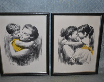 Two Mid century Prints of a Mother and her Children(possibly Jackie Kennedy, John-John and Caroline)
