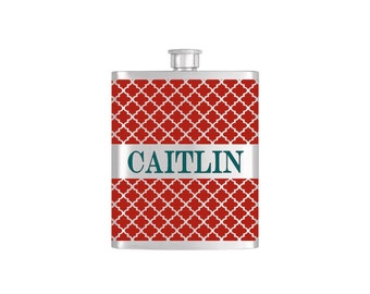 Personalized Red Moroccan Wallpaper Bridesmaid Gift - *** FREE FUNNEL INCLUDED *** Stainless Steel 8 oz Liquor Hip Flask - Flask#46