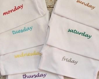 Cute 'Days of the Week' Romper/Singlet Set - Pack of 7