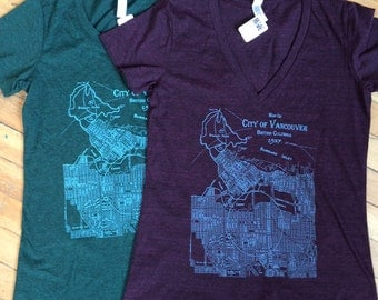 1937 City of Vancouver Map Hand printed Women's T-shirt