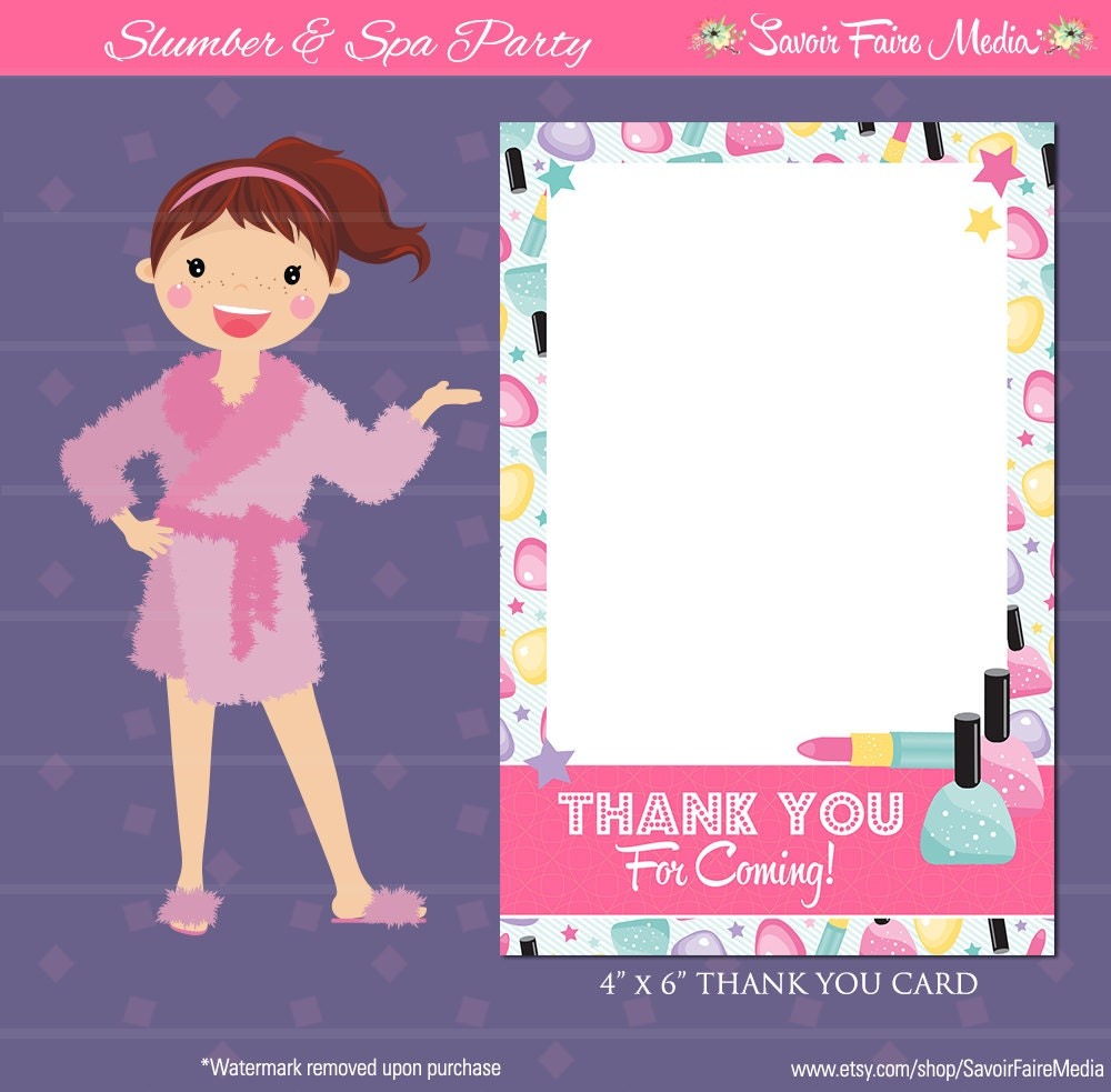 Spa Party Thank You Card Sleepover Makeover Spa Day Thank – Thank You Party Invitation