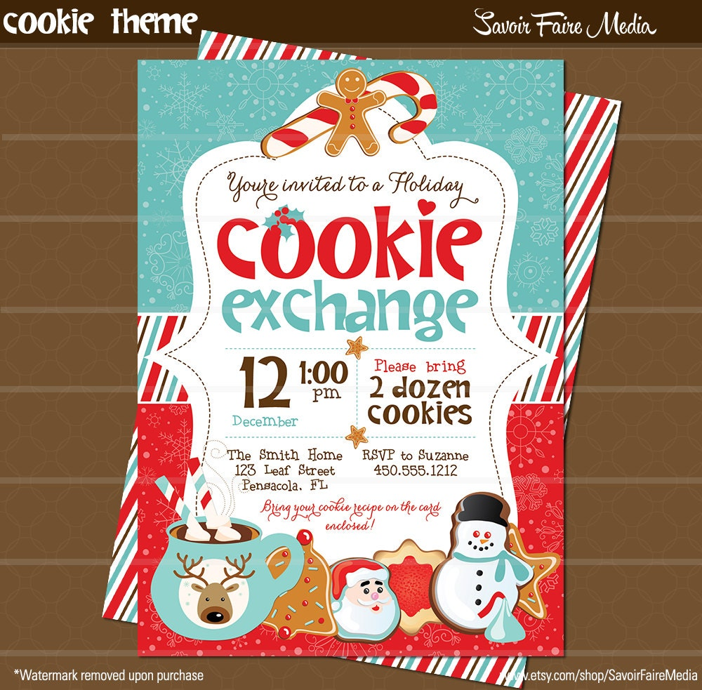 Christmas Cookie Swap Invitation Printable Bundle by ...