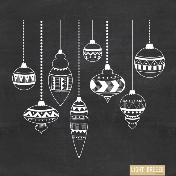 Chalkboard christmas ornaments digital clipart vector set
