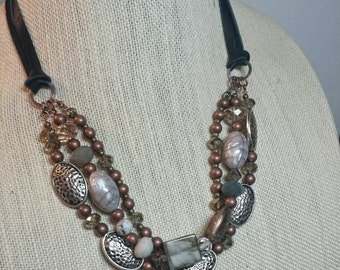 Metal and leather handmade bib necklace beaded multistrand necklace mixed metal jewelry handmade statement necklace