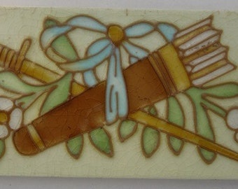 original art nouveau ceramic tile with arrows / quiver Hemiksem