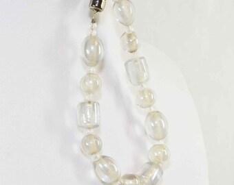 White Specialty Glass Beaded Bracelet