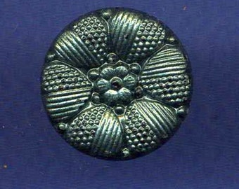 Vintage Button, Black Glass w Blue/Green Luster, Ca. 1950's
