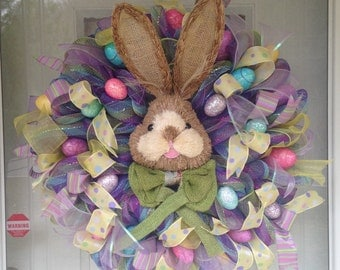 Spring Easter Bunny Egg Pastel Deco Mesh Ribbon Door Wreath