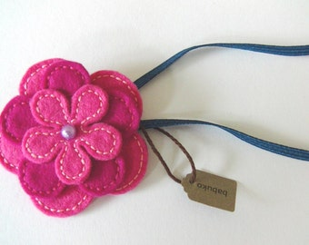 Pink Felt Flower Headband With Purple Bead