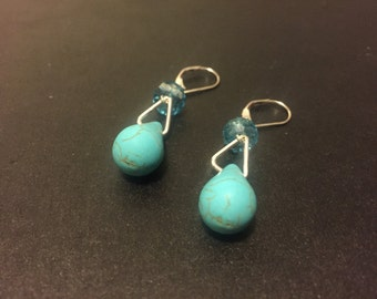Sterling Silver Turquoise & Crystal Dangling Earrings