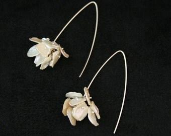 Pretty White Petal Wire Wrapped Earrings