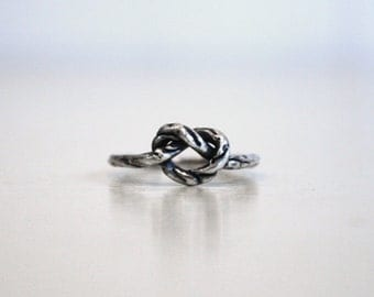 love knot ring, rope knot ring, sterling silver love knot ring, rustic knot ring