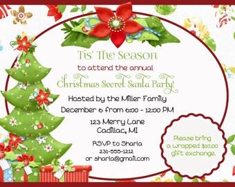 Poinsettia Secret Santa Christmas Invitation