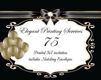 Custom Printing Services - 70 Pearl Descent Printed Invitations with Matching Envelopes