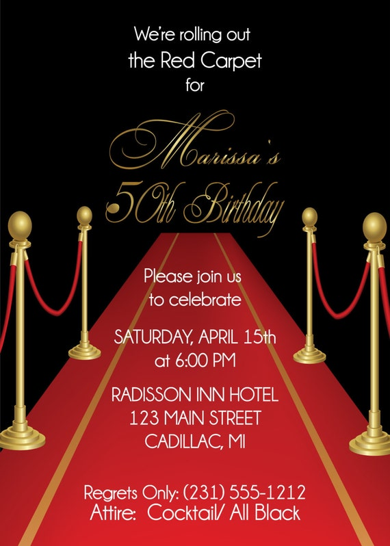 Adult Red Carpet Theme Invitation 40th Birthday Or Any Age
