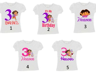 Custom Personalized Dora the Explorer Birthday Shirt 5 options Any Name