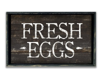 Wooden handmade Fresh Eggs sign framed in wood.  Farmhouse signs farm signs farm decor farm plaques kitchen signs
